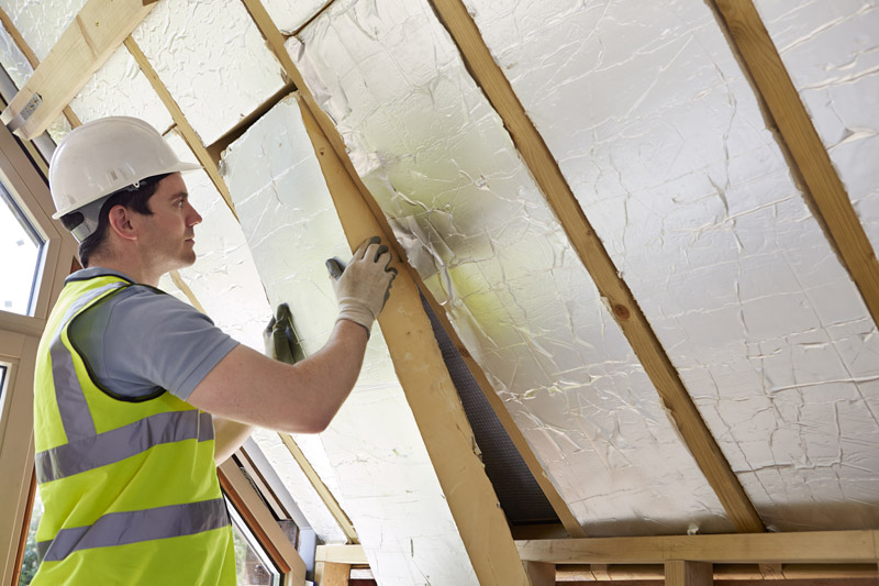 Insulation into roof